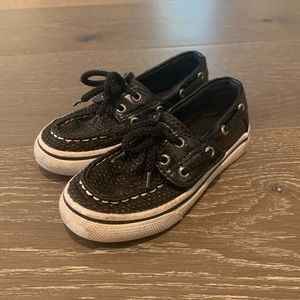 Kids Black Sperry Shoes
